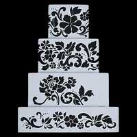 4pcs DIY Cake Cookie Flower Fondant Side Reusable Baking Stencil Wedding Decor