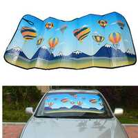 125x60cm Hot Air Balloon Thmed Aluminum Foil Foldable Reflective Car Wind Shield Shade