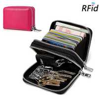 RFID Men And Women Genuine Leather 14 Card Slot Wallet