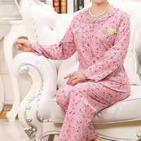 Comfy Floral Printed Long Sleeve Sleepwear Cardigan Leisure Round Neck Nightwear Sets For Women