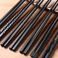 5Pairs (10 PCS) Alloy Non-Slip Reusable Chopsticks Sushi Set Chinese Food Chop Sticks Tableware