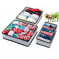 3Pcs Folding Storage Box Bra Underwear Organizer Drawer Socks Ties Glove