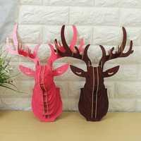 3D Wooden Elk Head Wall Hanging Craft DIY Model Animal Wildlife for Home Decoration