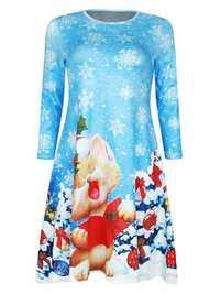 Christmas Cute Snowflake Cat Printed Half Sleeve Mini Dress For Women