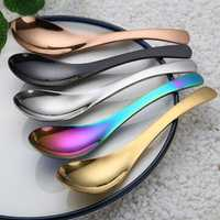 Rainbow Stainless Steel Chinese Spoon Round Earl Scoop South Scoop Thick Cooking Spoon 5 Colors