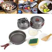 Portable Camping Picnic Flatware Set Nonstick Lightweight Pots Pan Teapot Set Hiking