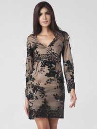 Lztlylzt Women Sexy Sequins V-neck Long Sleeve Patchwork Mini Dress