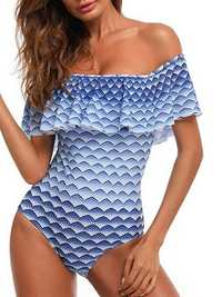 Strapless Leak-shoulder Padded One Piece Swimsuit