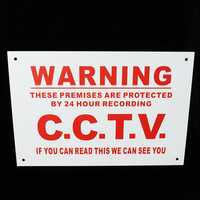 A4 Warning Sign 24 Hour CCTV We Can See You Metal Sticker Security Safety Sign