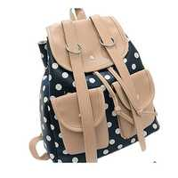 Polka Dot Backpack Double Pockets Preppy Style Casual Student Bag