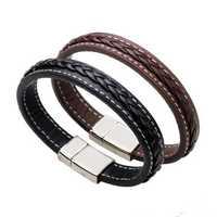 Punk Leather Woven Buckle Men Bracelet Wristband Gift
