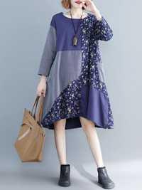 Vintage Women Cotton Linen Loose Print Patchwork Dress