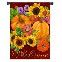 12.5'' x 18'' Pumpkin Flower Welcome Autumn Fall Garden Flag Yard Banner Decor Decorations