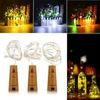 Battery Powered 1M 20LEDs Cork Shaped Silver LED Starry Light Wine Bottle Lamp For Party