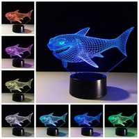 Shark 3D Night Light 7 Colors Changing LED Touch Switch USB Table Lamp Gift for Decorations