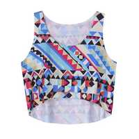 Casual Women Sleeveless Geometric Printed High Low Tank Top
