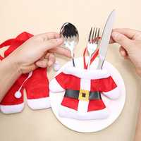 Christmas 1Set Creative Tableware Knife Fork Cover Suit Christmas Decorations Knife And fork Cover