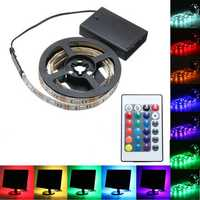 30/50/100/150/200CM Battery Powered 5050 RGB LED Flexible Strip Light + Remote Party Home Decor DC5V