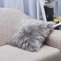 Throw Pillow Cover Cushion Case Faux Fur Fluffy Plush Soft Sofa Solid Home Decor