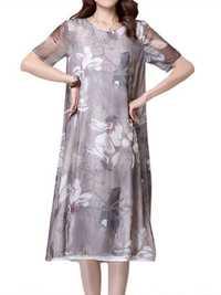 Women Vintage Floral Linen Chiffon Patchwork Slit Midi Dress
