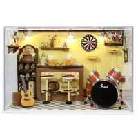 Cute Room DIY Dollhouse Bed Miniature With LED+Furniture+cover Doll House Kits (No Glue)