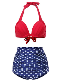 Women Sexy High Waist Retro Tankini Polka Dot Vintage Swimmwear Bathing Suit Beachwear