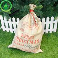 Hot Sale 1pc Santa Sacks Drawstring Canvas Santa Sack Large Vintage Christmas Gift Bag