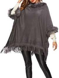 Women Loose Fur Collar Tassel Cape Cloak Poncho Coats
