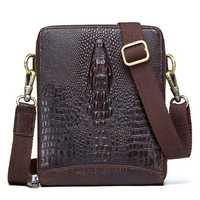 Men Crocodile Embossing Genuine Leather Crossbody Bag
