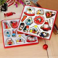 12Pcs / Set Traditional Wooden Christmas Tree Decorations Home Hanging Toys