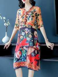 Women V-neck Floral Silk Vintage Dress