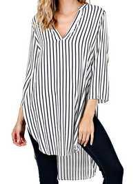 Women Striped Loose Split Irregular Hem V-Neck Shirt Dress