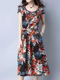 Women Vintage Floral Printed Short Sleeve Elastic Waist Dresses