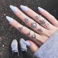 9 Pcs Bohemian Statement Ring Set Helm Leaf Knuckle Rings