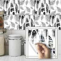 Black White Feather Tile Sticker Waterproof Self Adhesive Wallpaper Wall Decor Sticker for Bathroom Kitchen