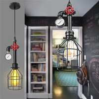 E27 Industrial Vintage Iron Cage Ceiling Light Hang Wire Chandelier Pendant Lamp AC85-220V