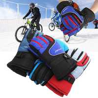 Unisex Nylon Polyester Ski Gloves Snowboard Motorcycle Driving Outdoor Windproof Antiskid Mittens