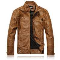 Mens Stand Collar PU Leather Motorcycle Thick Jacket Fashion Casual Atumn Winter Coat