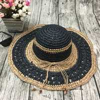Women Handmake Woven Sun Protection Wide Brimmed Floppy Hat