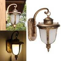 Outdoor Porch Lantern Vintage Wall Light Fixture Aluminum Exterior Brass Garden Lamp