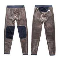 Winter Double Layer Stepping Foot Warm Pants Men's Thermal Underwear Stretch Solid Color Long Johns