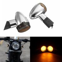 Motorcycle Chrome Smoke Bullet LED Turn Signal Blinker Cafe Racer Light Custom