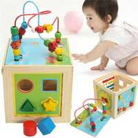 5 in 1 Kids Multi Function Colourful Wooden Activity Cube Toys Puzzle Bead Maze