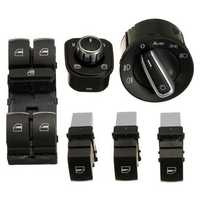 6PCS Chrome Window Headlight Mirror Switch Set for VW Passat B6 CC Golf Jetta