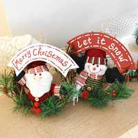20cm Christmas Wreath for Front Door Hang Garland with Santa Claus Snowman Ornaments Natural Rattan Wreath Holiday Door Hanger