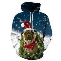 Christmas Dog Digital Printing Hoodies Sweater Big size Casual Loose Couple Sportswear
