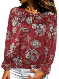 Women Vintage Satin Print Long Sleeve Elastic Hem Shirts
