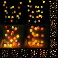 Battery Operated 20LEDs Pastel Cotton Ball String Light for Holiday Wedding Valentine's Day