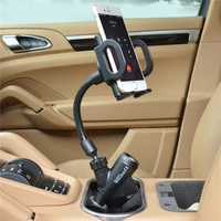Cobao 360° Rotation Dual USB Cigar Lighter Car Mount Charger Phone Holder for Phone 3.5-6 inches