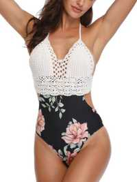 One-Piece Patchwork Knit Bathing Halter Swimwear